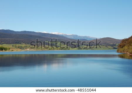 Lake under Snowy Mountains