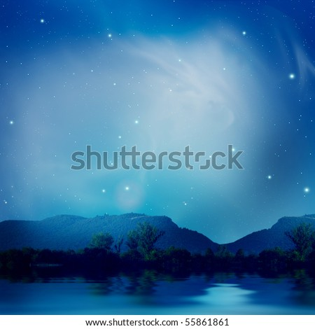 Lake under the stars - stock photo