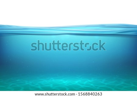 Lake underwater surfaces. Relax blue horizon background under surface sea, clean natural view bottom pool with sun rays.  illustration ocean
