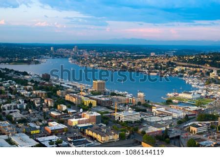 Lake Union and Cascade district, Seattle, Washington State, USA