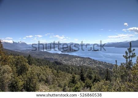 lake view scenic panorama in Patagonia #526860538