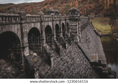 Lake Vyrnwy Magnificent Dam in Powys, Wales showing off its impressive overflow with the 1880s architecture, arches and leading lines