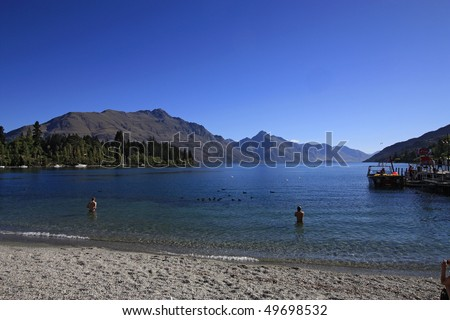 Lake Wakatipu, famous view of Queenstown, New Zealand
