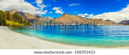 Lake Wakatipu in New Zealand. Panorama