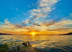 Lake water horizon dawn landscape. Lake horizon at dawn. Sunrise lake horizon dawn