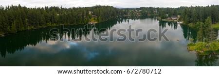 Lake Wilderness - Maple Valley Washington Panoramic Aerial Photo #672780712
