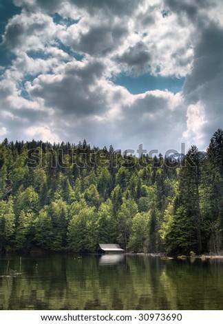 lake with boathouse, HDR Image