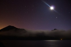 Lake with mountains and moon