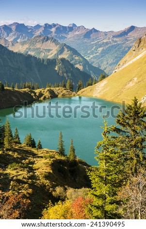 Lake with mountains in Allgau Bavaria in vertical format #241390495