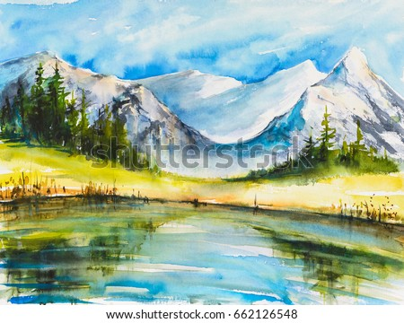 Lake with Mountains. Landscape watercolor painting of snow covered mountains with a lake