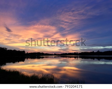 Lake with sunset in the evening