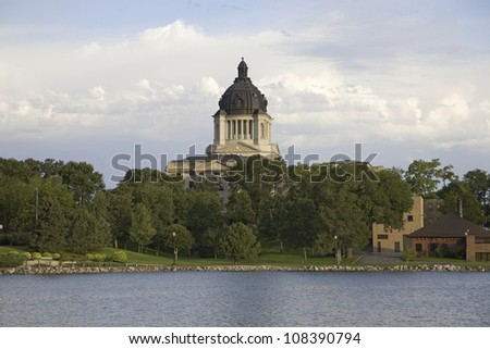 Lake with view of South Dakota State Capitol and complex, Pierre, South Dakota