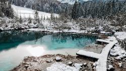 Lake Zelenci natue reserve in Triglav National park in Slovenia  Outdoor, snow, winter, scenery, no people, nobody