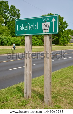 Lakefield direction signboard along the road
