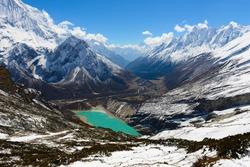 Lakes in the Himalayas. The trek around Manaslu
