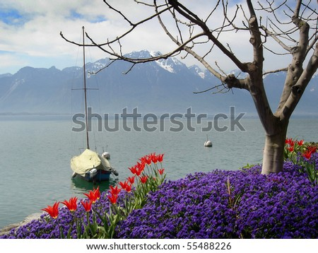 Lakeside trail along Lake of Lausanne, near Montreux, Switzerland