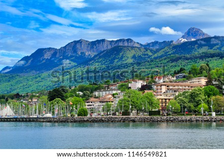 Lakeside view of Évian. Evian-les-Bains, France Zdjęcia stock ©