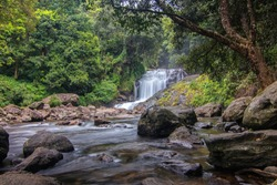 Lakkam Waterfalls, Anamudi Shola National Park Reserve Forest India Hidden amongst dense jungle, these famous cascading falls require a hike to access. Hillstations of India- pristine Munnar, Kerala,