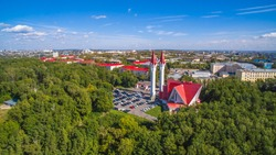 Lala Tulpan mosque in Ufa at summer sunny day, Russia