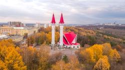 Lala Tulpan mosque in Ufa autumn sunset, Russia