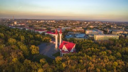 Lala Tulpan mosque in Ufa sunset, Russia