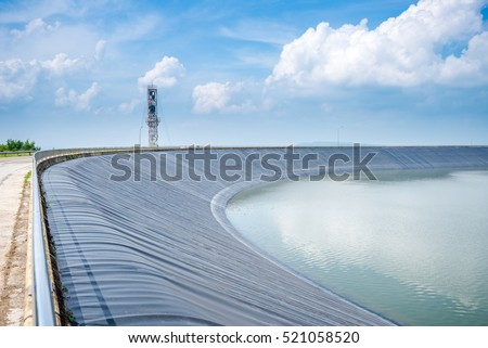 Lam Takong Reservoir view, water reservoir with black plastic liner, Nakhon Ratchasima, Thailand