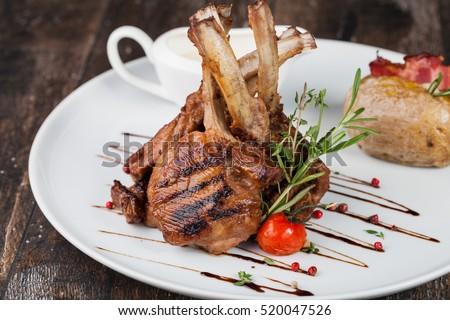 lamb chop meal with potato #520047526