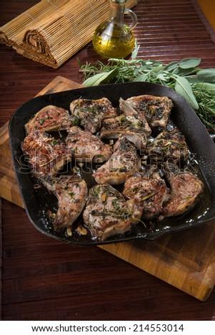 lamb chops in frying pan #214553014