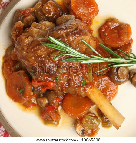 Lamb shank braised with vegetables