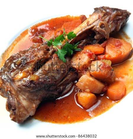 Lamb shank, slow-cooked with root vegetables. Delicious, hearty eating ...