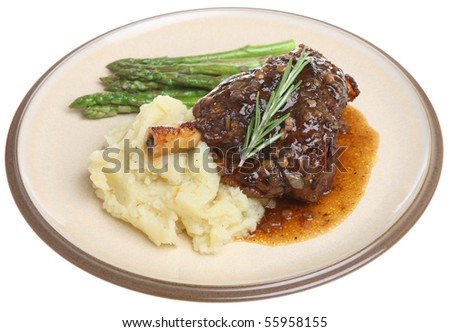 Lamb Shank With Mashed Potato And Asparagus. Stock Photo ...