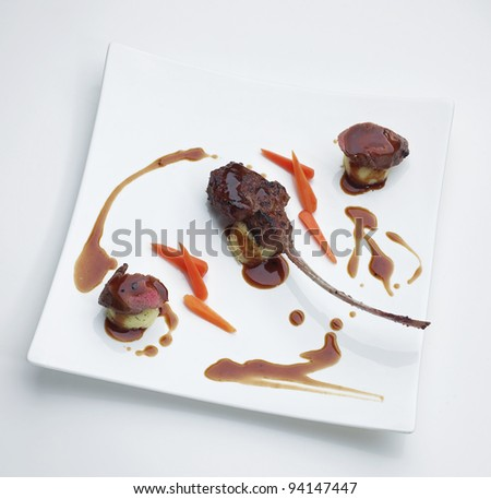 Lamb steak a tasty of food with wine