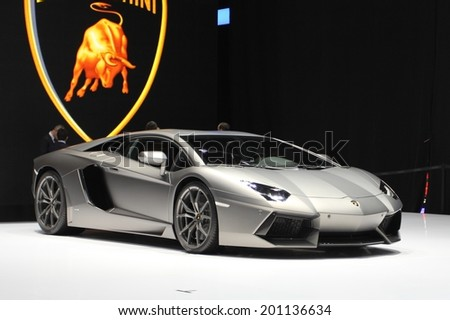Lamborghini Aventador presented at the 84th International Geneva Motor Show on March 4 2014 in Palexpo Geneva Switzerland