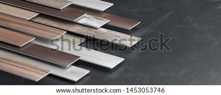 Laminate floor on black board background, banner, copy space. 3d illustration Zdjęcia stock ©