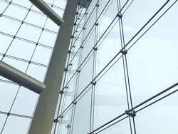 Laminated Tempered Glass Wall Cable Net System Structure ,Selective Focus.