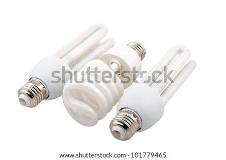 Lamp. An electric economic lamp on a white background