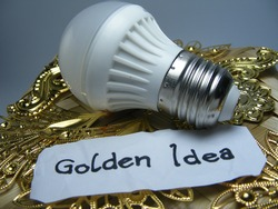 Lamp and imitated golden accessories on a woven bamboo. Concept or illustration of a golden idea on a complex situation