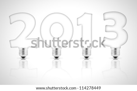 Lamp bulb forming 2013 on white background
