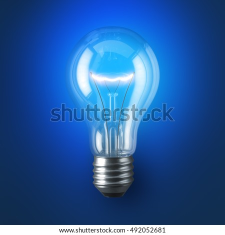 lamp bulb illuminated with coil glow on blue studio background 3d