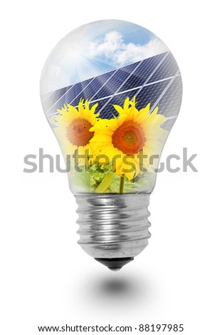 Lamp bulb with solar panels on sunflowers. Conceptual image. Environmental metaphor.