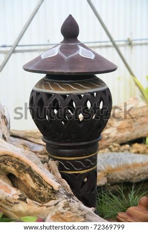 Lamp earthenware in garden