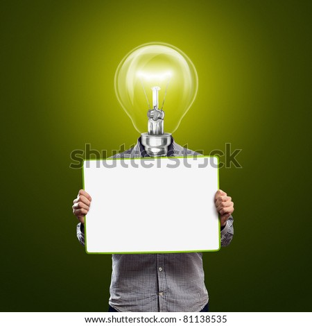 lamp head businessman holding empty write board in his hands