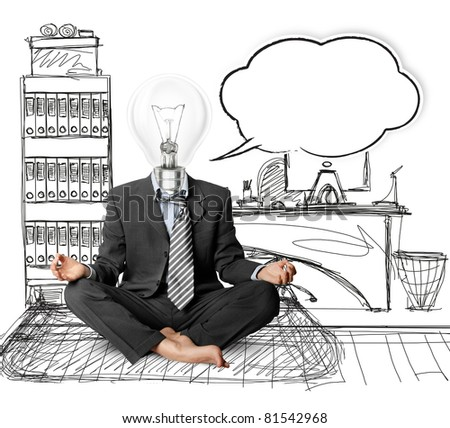 lamp-head businessman in lotus pose with speech bubble, meditating at the office - stock photo