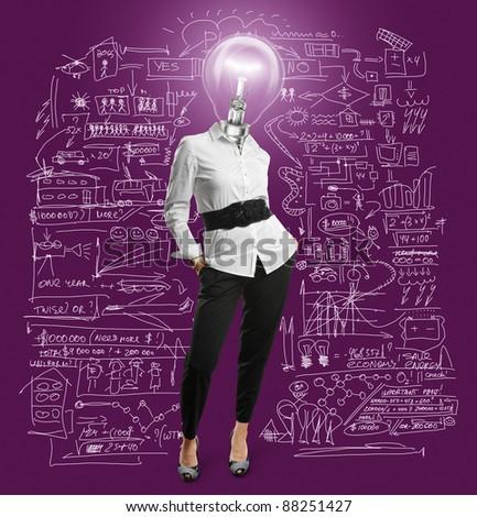 lamp head businesswoman have got an idea