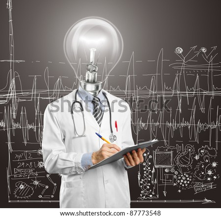 lamp head doctor writing something on clipboard