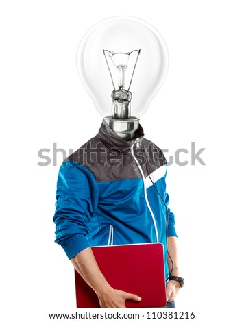 Lamp Head man with laptop, listening to the music