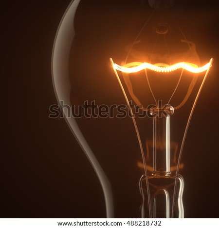 Lamp light bulb illuminated with coil glow on a black studio background. 3D illustration
