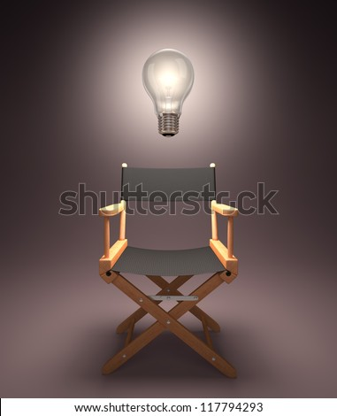 Lamp lit up on the director\'s chair.