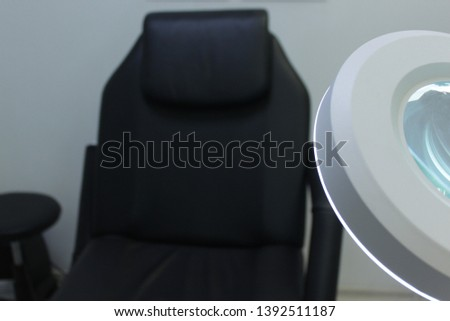 lamp magnifier for beautician , workplace beautician, black chair #1392511187