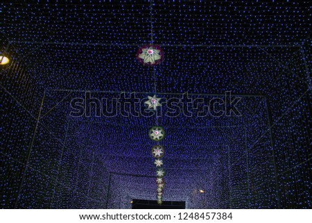 lamp of star,light of star,Tunnel of light,Star Wall in the night,Christmas festival,Christmas light,  #1248457384
